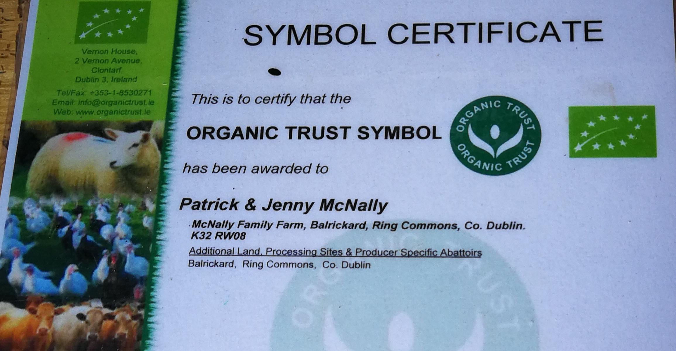 McNally Family Farm Organic Trust Certificate